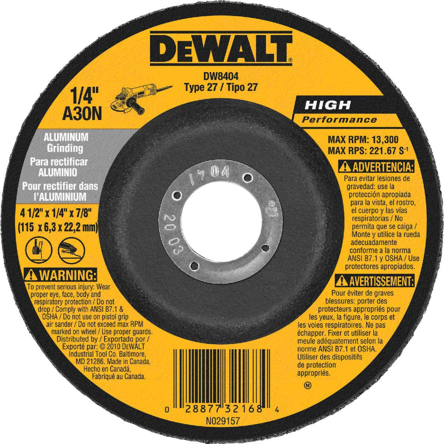 DeWalt HP Type 27 4-1/2 In. x 1/4 In. x 7/8 In. Aluminum Grinding Cut-Off Wheel Image 1