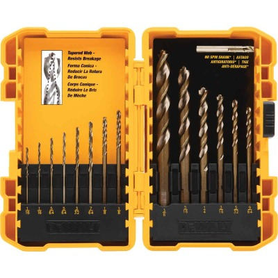 DeWalt 14-Piece Gold Ferrous Oxide Pilot Point General Purpose Drill Bit Set, 1/16 In. thru 3/8 In.