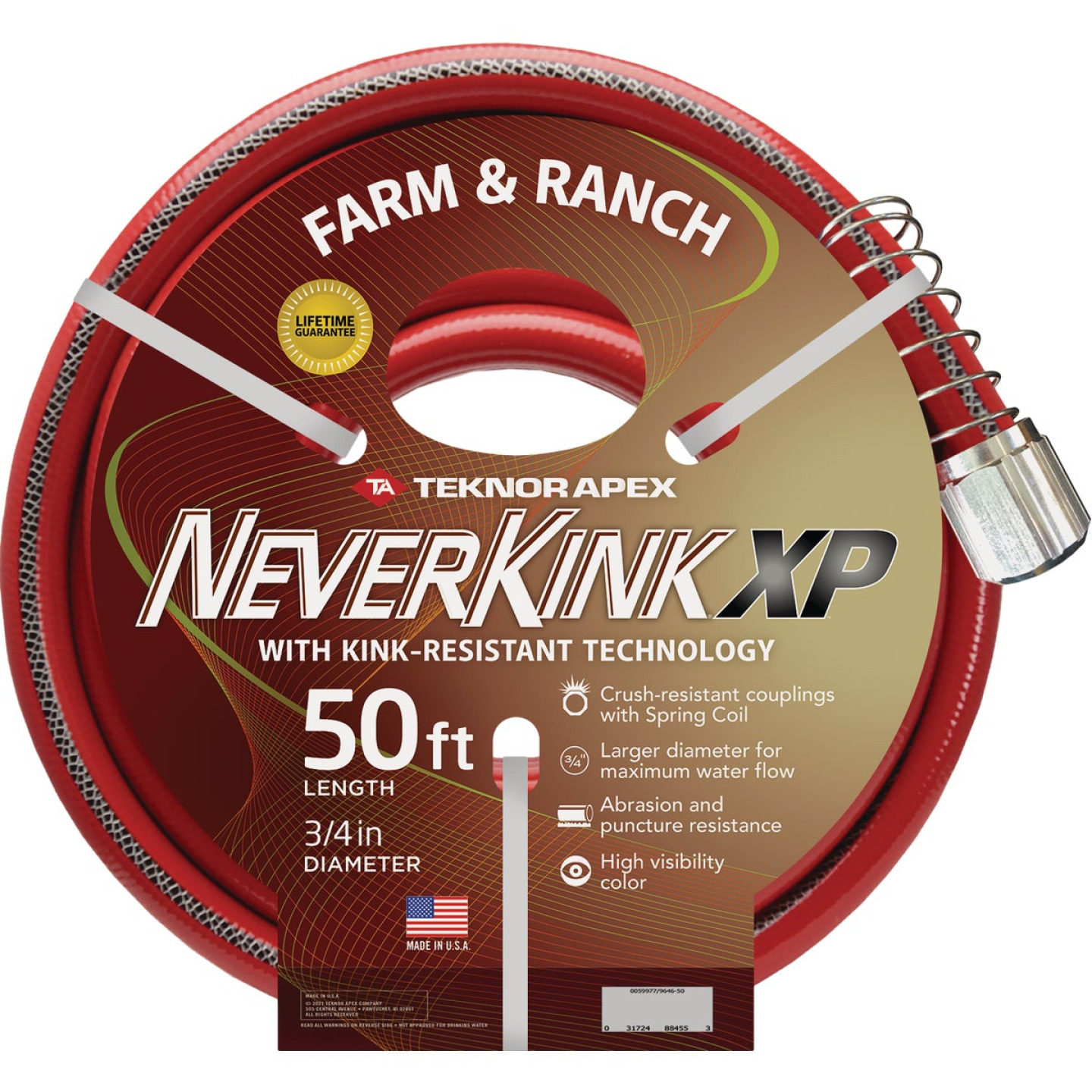 "NeverKink XP 3/4"" x 50' Farm & Ranch Hose Image 1"