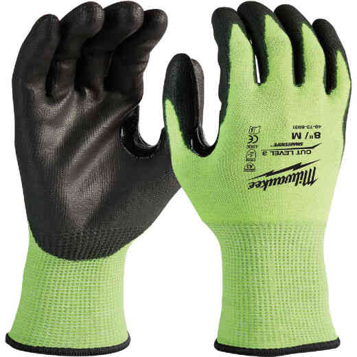 Milwaukee Unisex Medium Cut Level 3 High Vis Polyurethane Dipped Glove