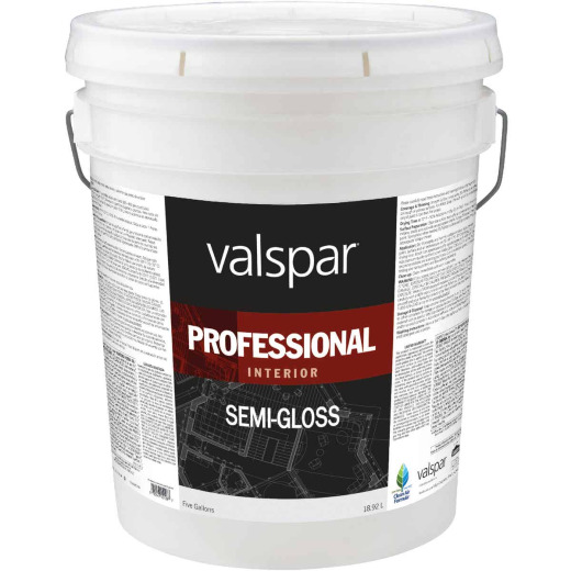 Valspar Professional Latex Semi-Gloss Interior Wall Paint, High Hide White, 5 Gal.