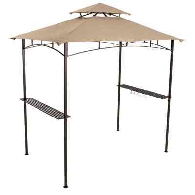 Outdoor Expressions 7.8 Ft. x 8 Ft. Black & Gray Steel Grill Gazebo